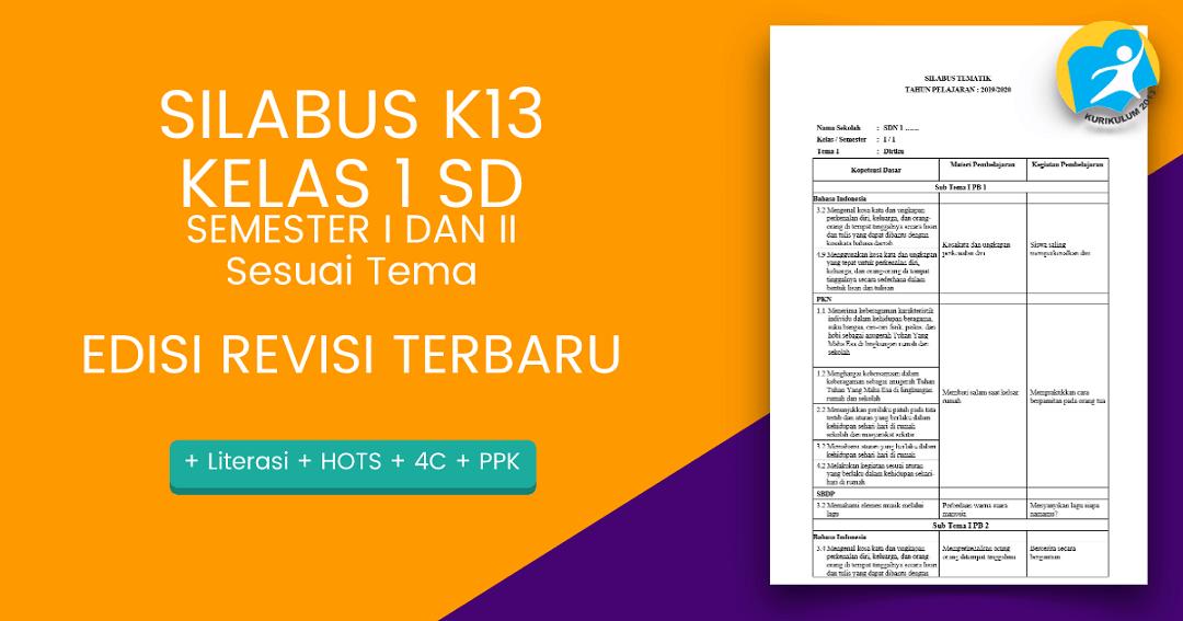 Download Silabus K13 Kelas 1 Sd Revisi 2018 Dan 2019 Asdar Edu