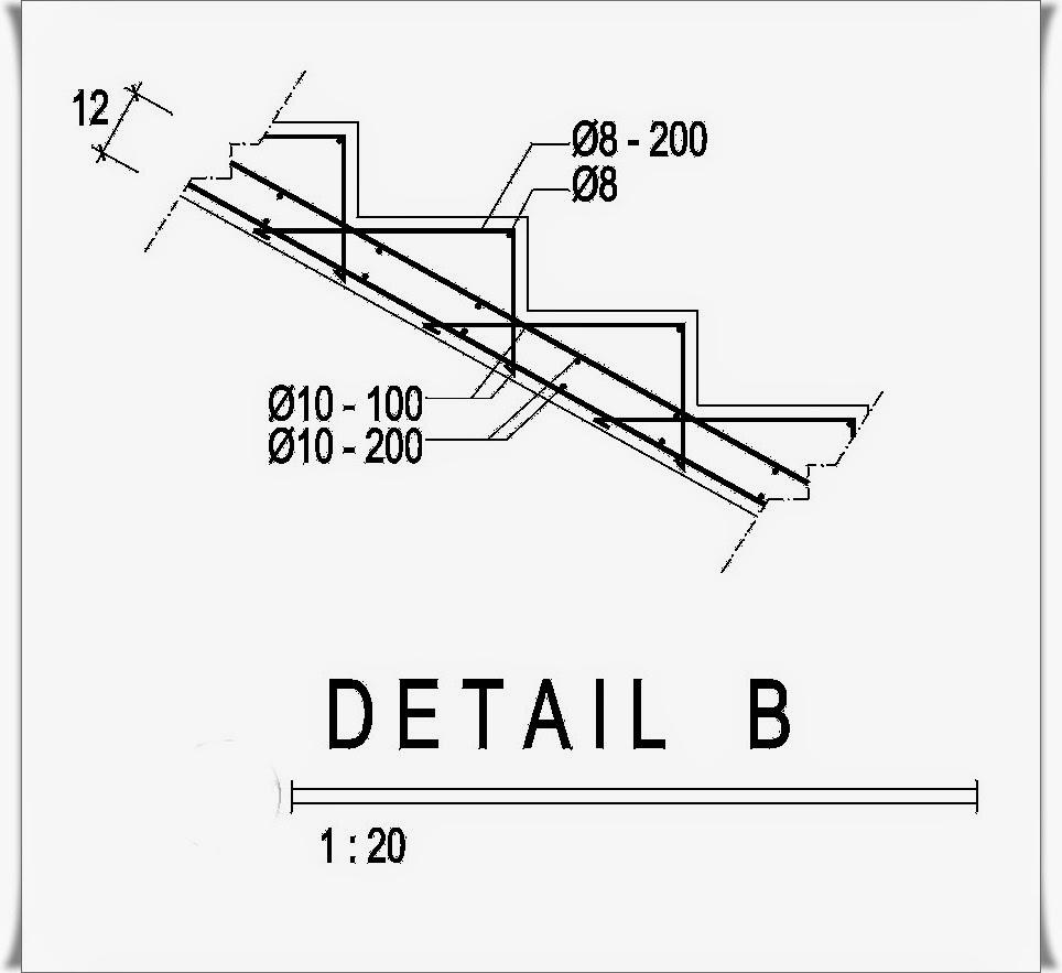Contoh Desain Bangunan: Referensi Denah Tangga Dan Detail Penulangan Tangga