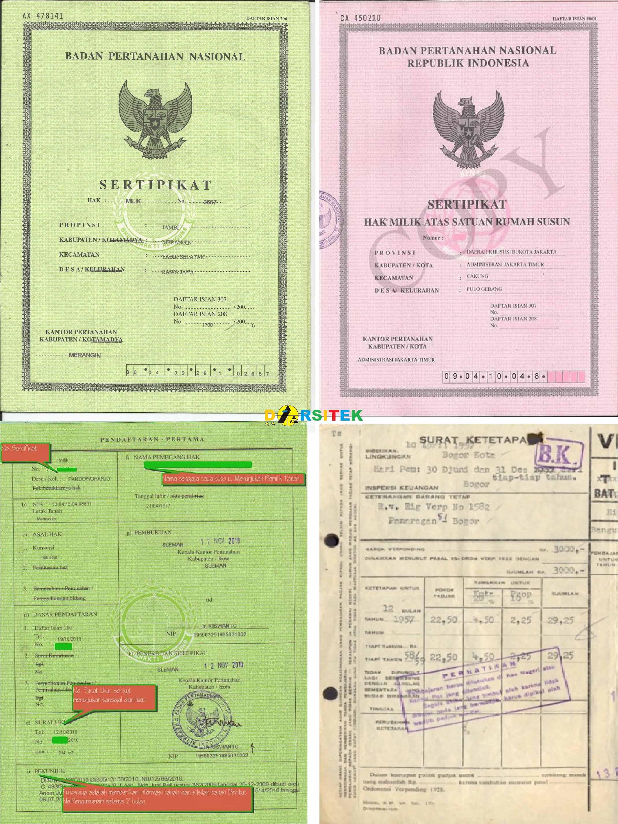contoh jenis sertifikat rumah