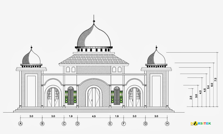 Referensi Gambar Masjid Ukuran 13 M X 21 M Dengan Bangunan Utama 8