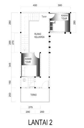 contoh gambar denah rumah 2 lantai ukuran 7 x 10 meter