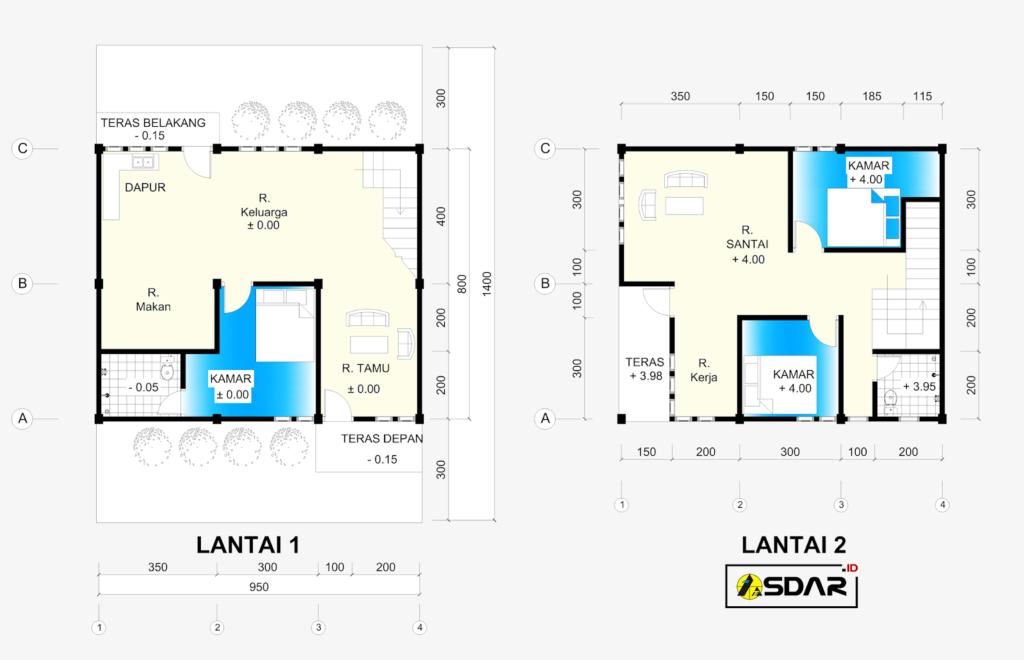 Desain Rumah 2 Lantai Dwg  referensi gambar denah rumah 2 lantai ukuran 9 5m x 8m