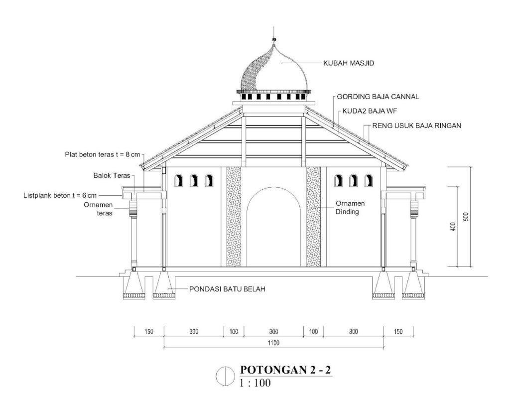 potongan 2 masjid 11x11m