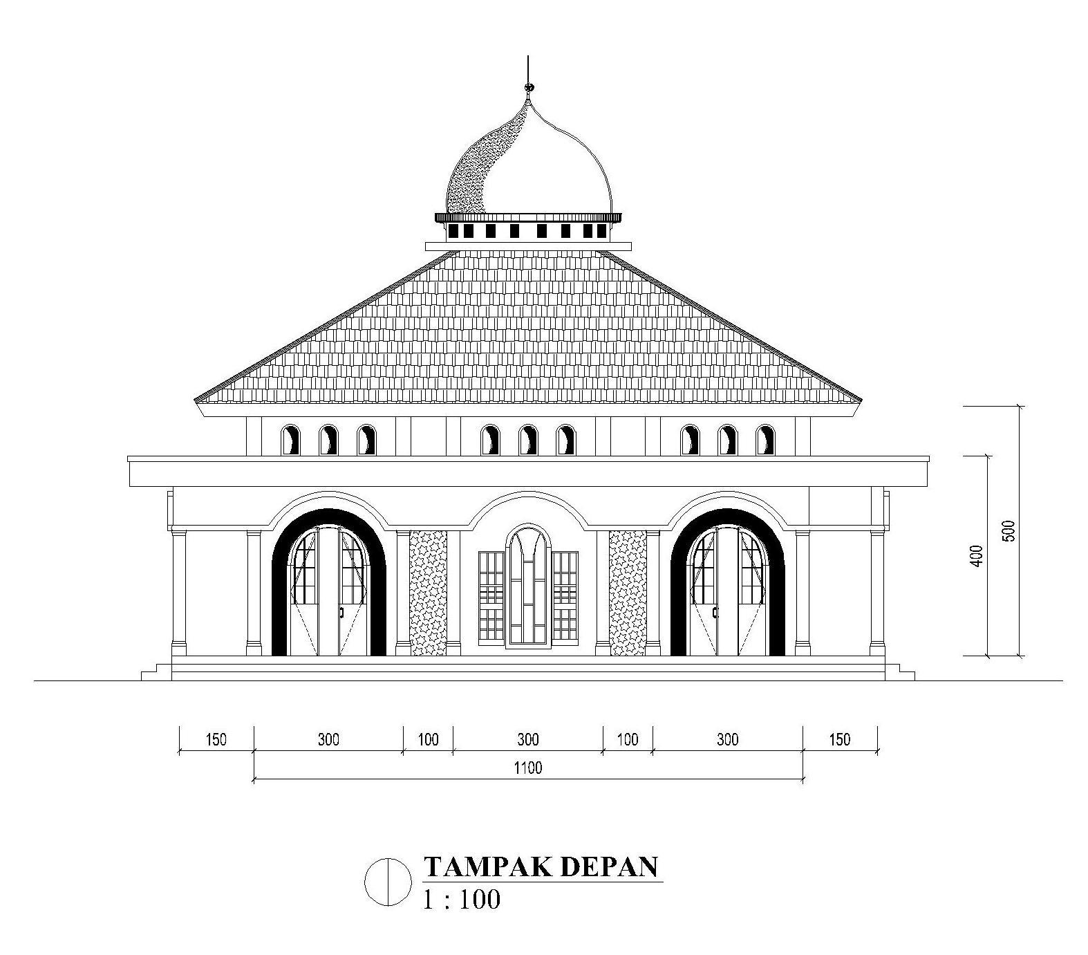 Referensi Gambar Masjid Ukuran 11m X 11m Teras Depan 3m Dengan 2