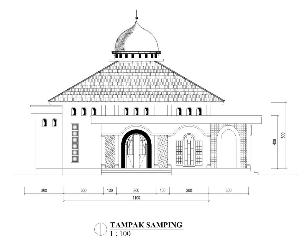tampak samping masjid 11x11m