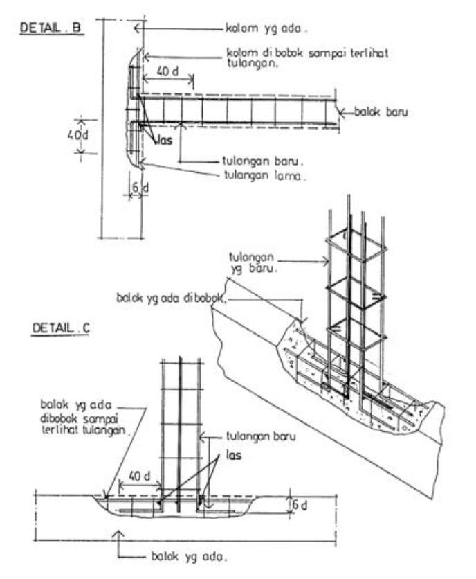 pemasangan tulangan balok dan kolom baru
