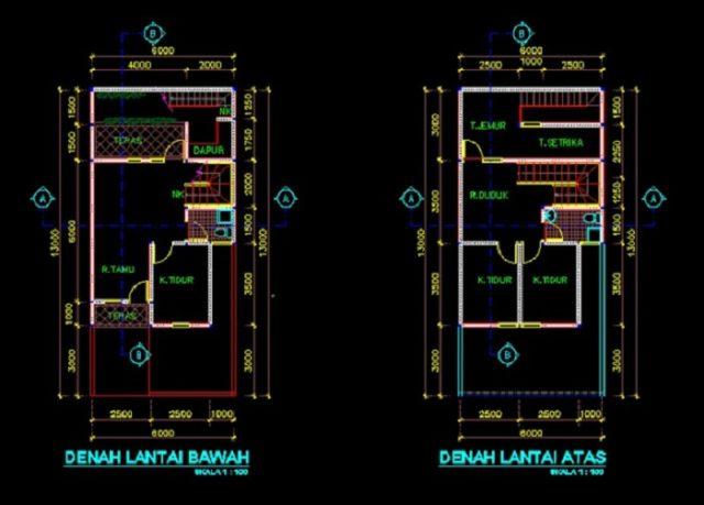 gambar rumah tinggal 6x7m file dwg