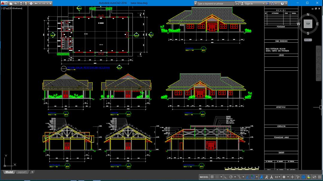 Gambar Desain Rumah Minimalis Dwg  download gambar balai desa file autocad asdar id