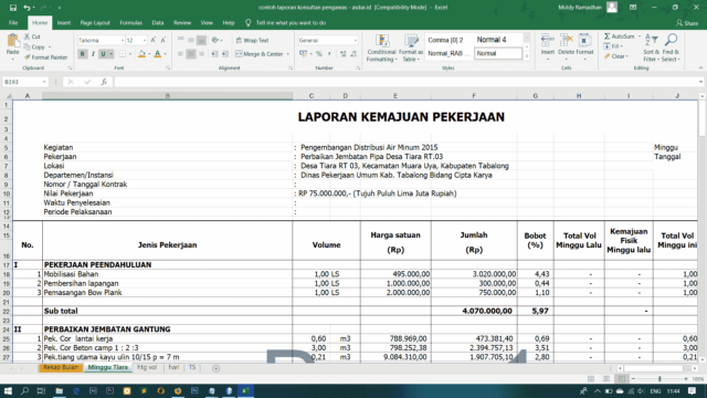 contoh laporan konsultan pengawas