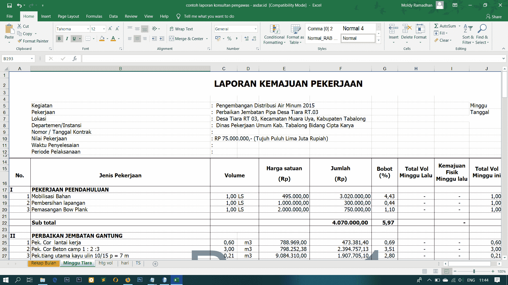Contoh Laporan Konsultan Pengawas Laporan Bulanan Mingguan Harian Dan Jadwal Pelaksanaan Format Excel Asdar Id
