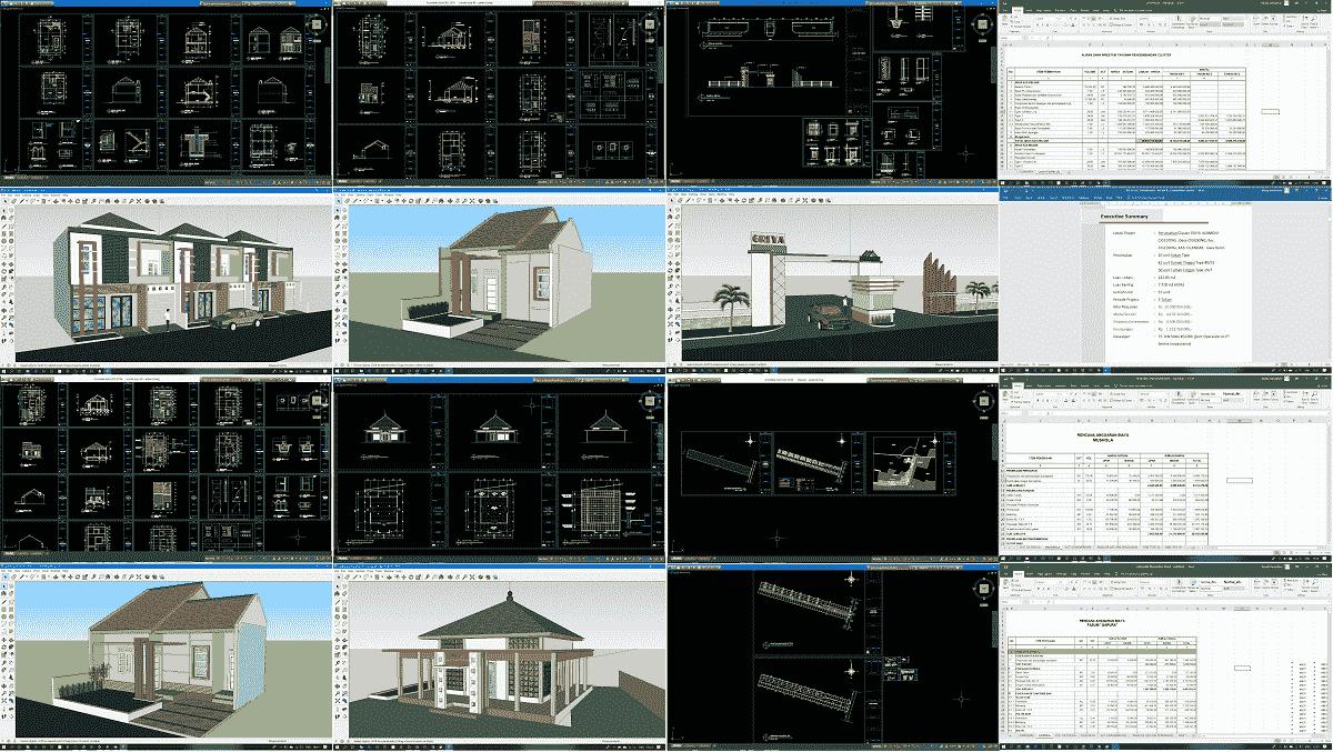 Download Gambar Perumahan Sederhana Autocad Sketchup Lengkap Dengan Rab Cash Flow Dan Proposal Asdar Id