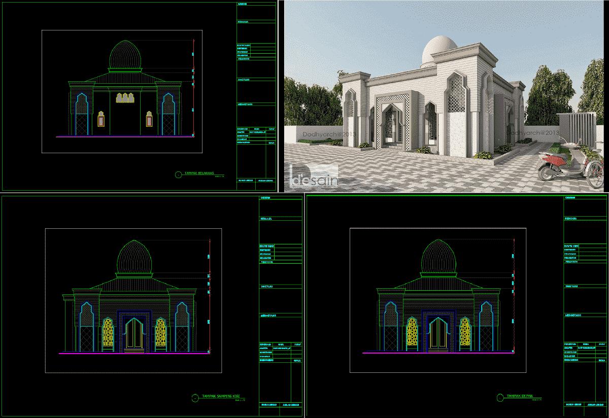 Download Gambar Masjid Minimalis Ukuran 10x10m Dwg Autocad Asdar Id