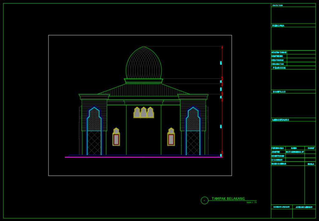 tampak belakang masjid minimalis