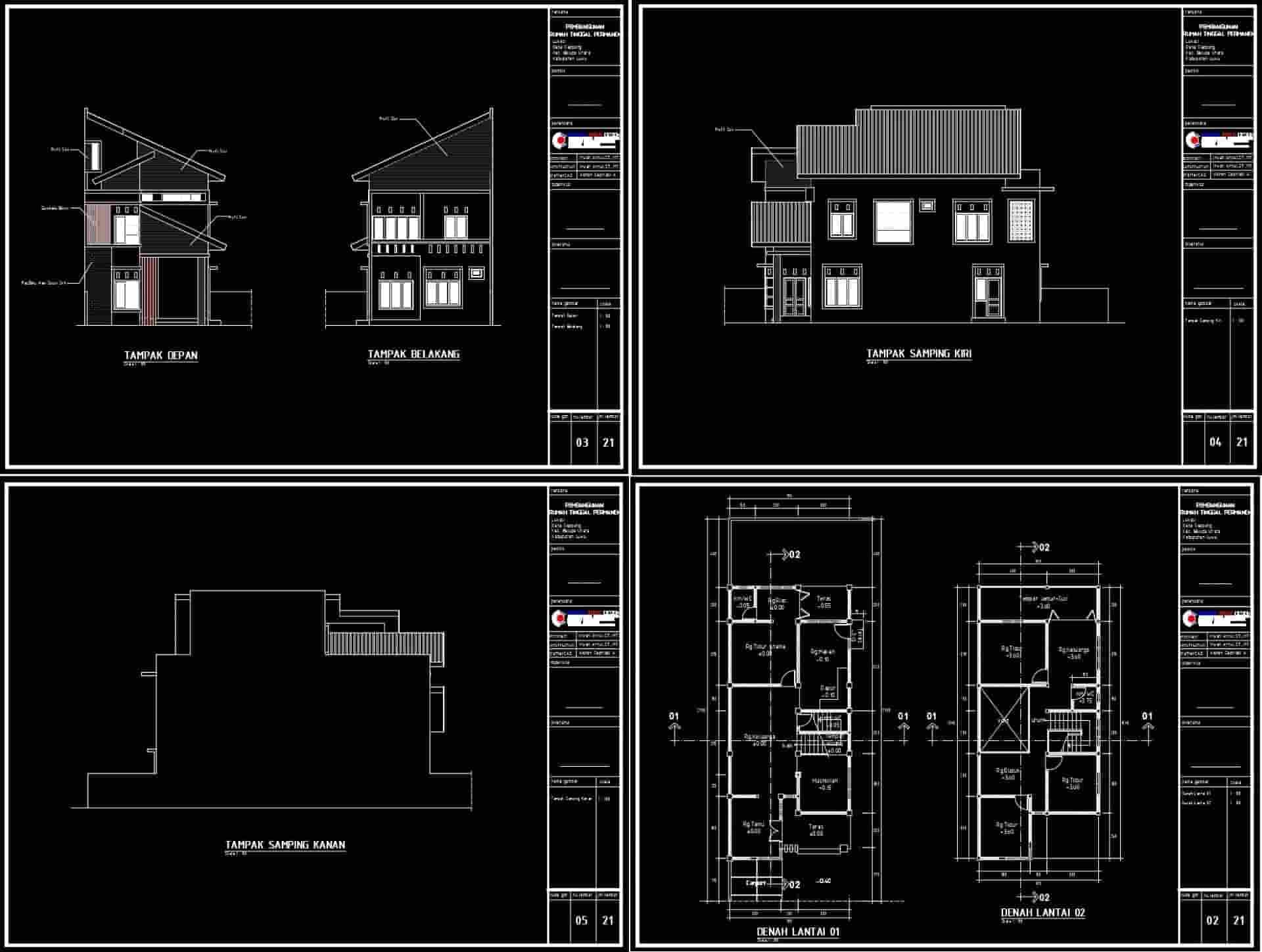 Referensi Gambar Bestek Rumah 2 Lantai DWG AutoCAD [4 Kamar