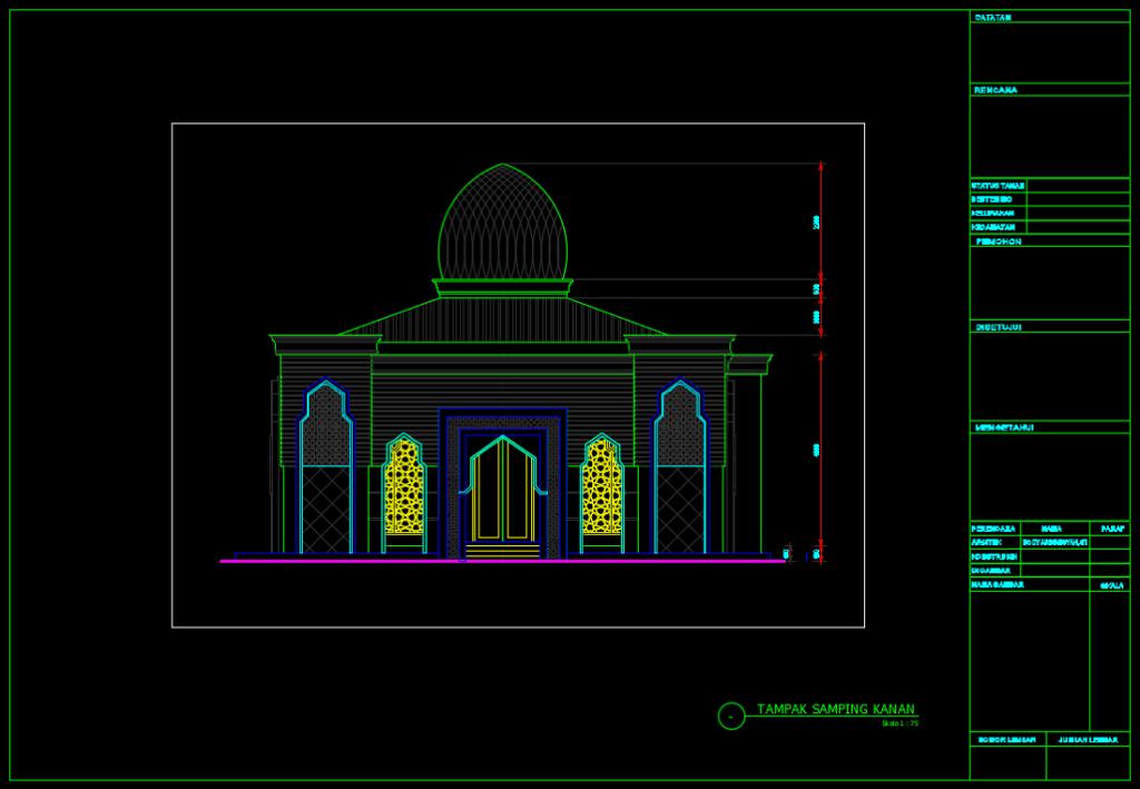 tampak samping kanan masjid minimalis