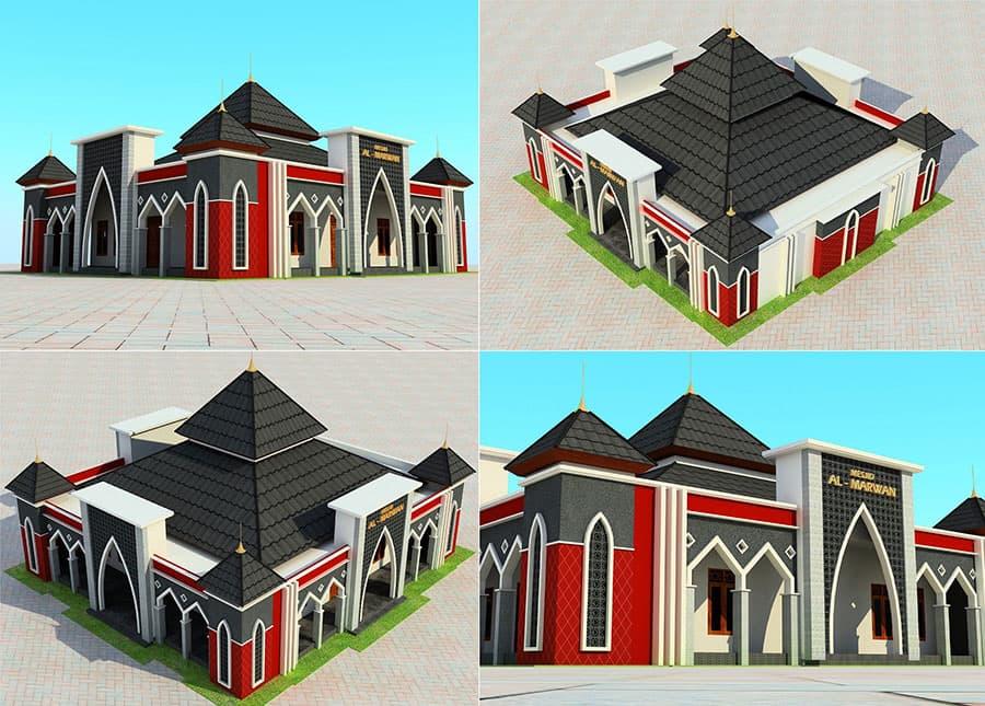 tampilan 3d masjid al-marwan