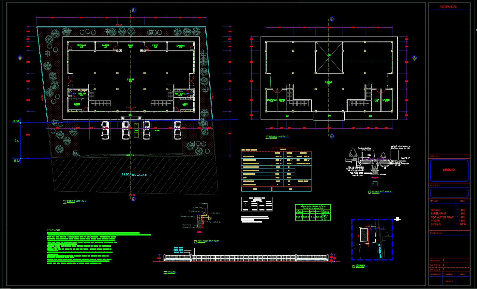 Download Gambar Masjid 2 Lantai Format DWG AutoCAD Asdar Id