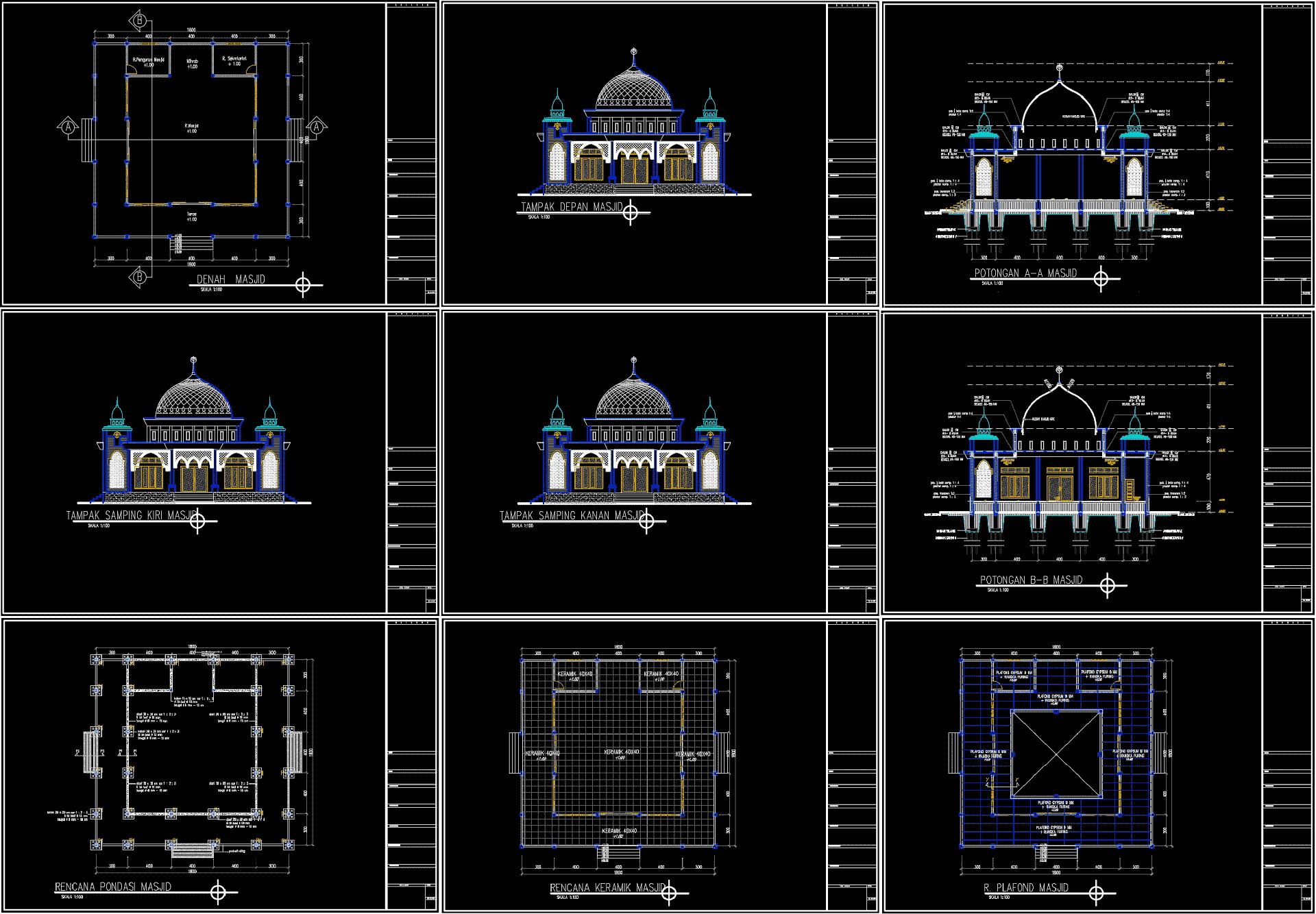 Desain Masjid Lengkap Format Dwg Rumah Joglo Limasan Work