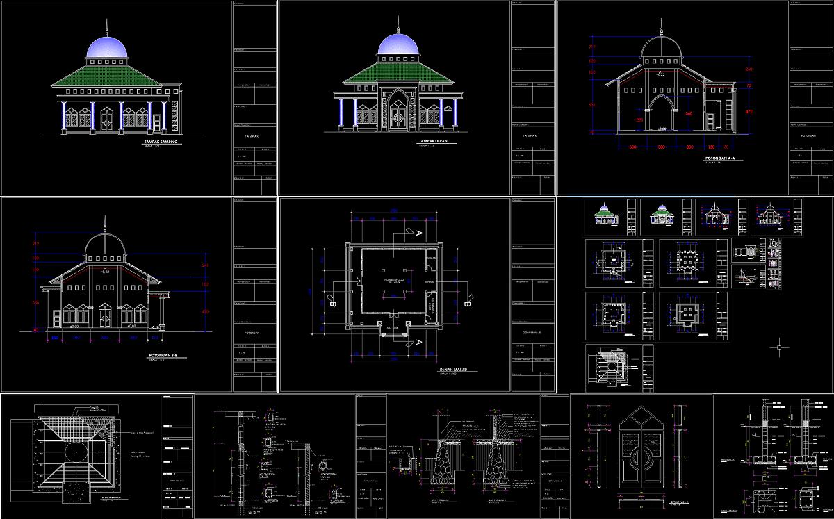 Desain Masjid 2 Lantai Dwg Rumah Joglo Limasan Work