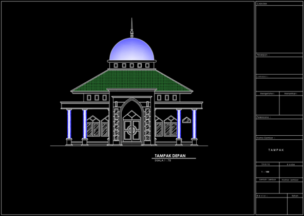 tampak depan masjid persegi