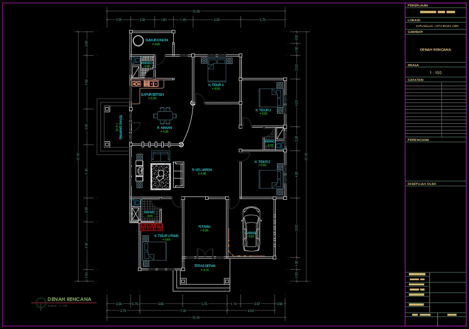 Download Gambar Rumah 1 Lantai Type 230 M2 Dwg Autocad Asdar Id