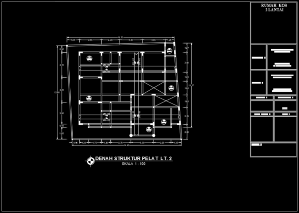 denah struktur pelat rumah kost