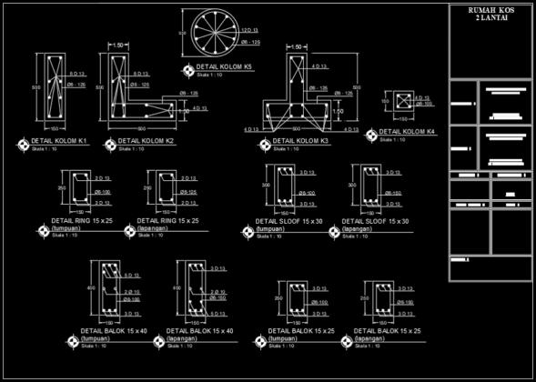 detail penulangan balok, sloof, kolom dan ringbalk rumah kost