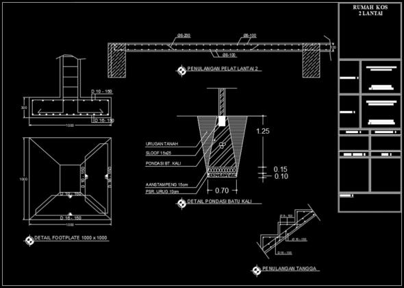 detail pondasi batu kali, footplate, penulangan pelat dan tangga rumah kost