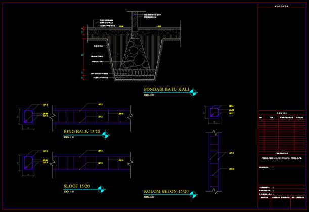 detail pondasi, ringbalk, sloof, dan kolom rumah tinggal