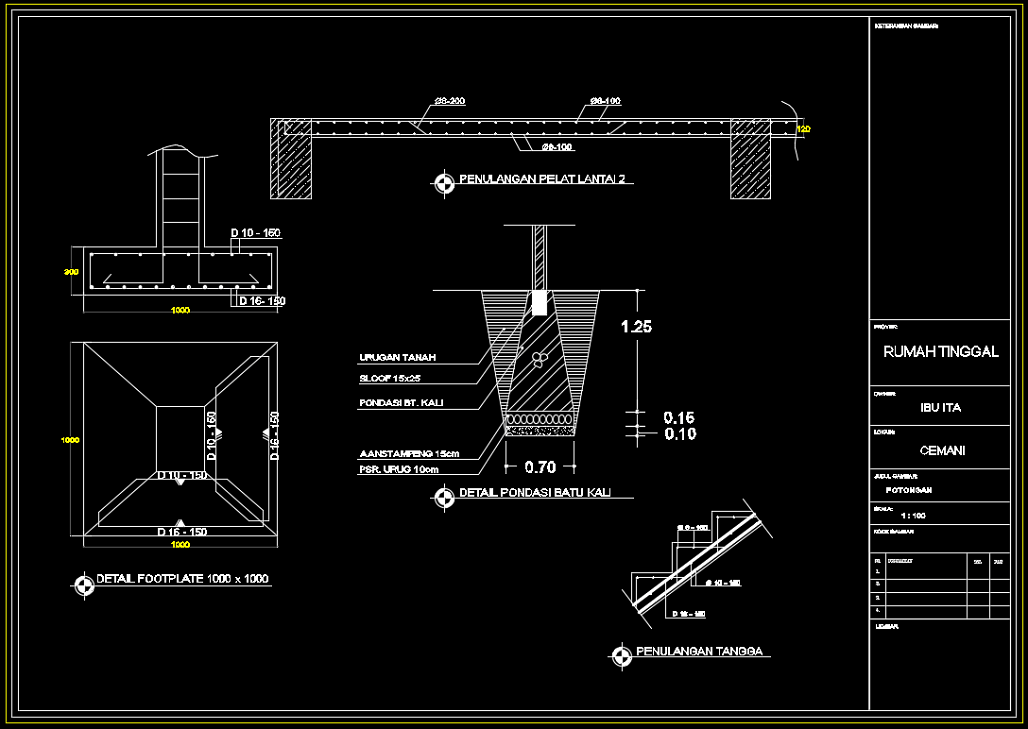 Lengkap Gambar Struktur Arsitektur Rumah 2 Lantai Format Dwg Beserta Perhitungan Laporan Struktur Asdar Id