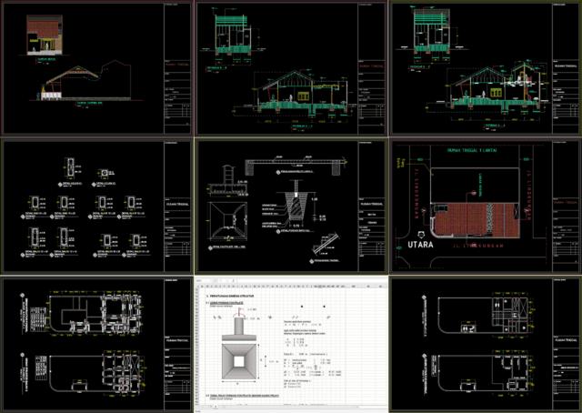 gambar arsitektural dan struktural rumah 2 lantai