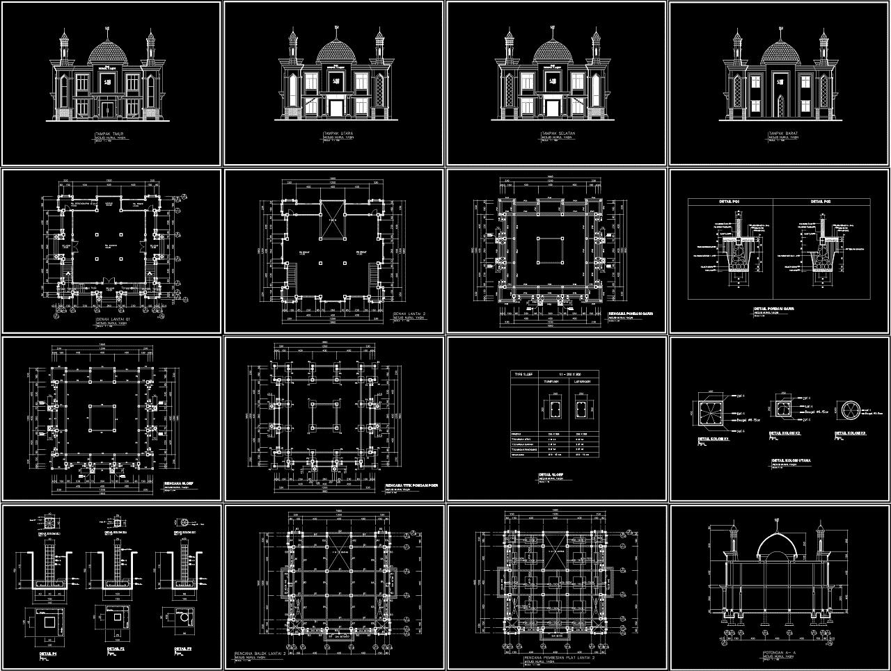 Download Gambar Masjid Nurul Yaqin Format AutoCAD Dan PDF