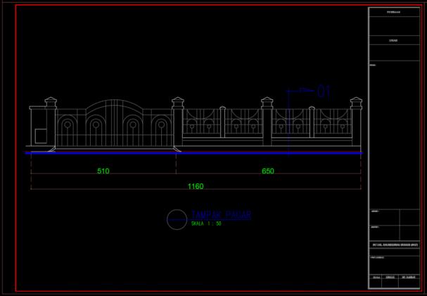 pagar rumah tinggal 2 lantai 11.60m x 25.65m