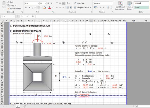 perhitungan struktur footplate rumah kost