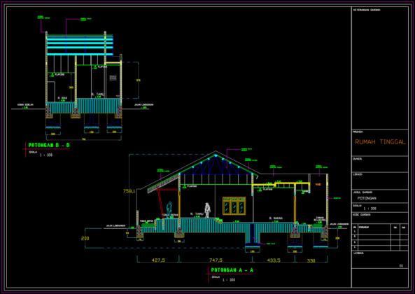 potongan arsitektural rumah 2 lantai