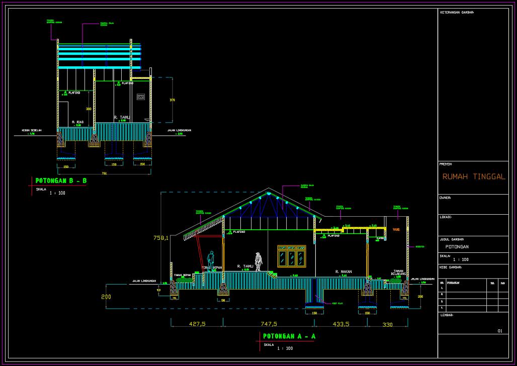 Desain Rumah 2 Lantai Dwg  lengkap gambar struktur arsitektur rumah 2 lantai format