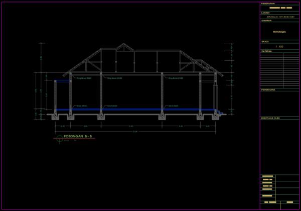 potongan b-b rumah 1 lantai type 230 m2