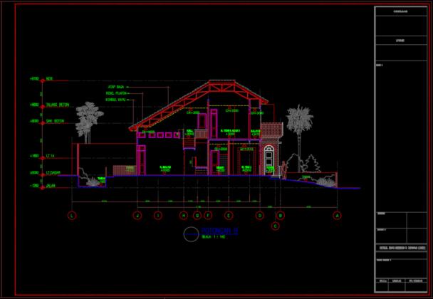 potongan b rumah tinggal 2 lantai 11.60m x 25.65m