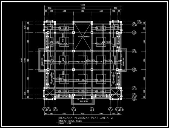 rencana pembesian plat lantai 2 masjid