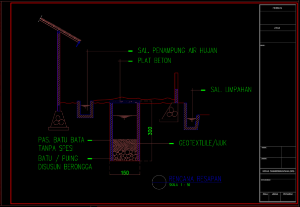 rencana resapan rumah tinggal 2 lantai 11.60m x 25.65m