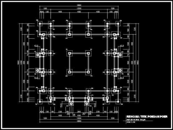 rencana titik pondasi poer masjid