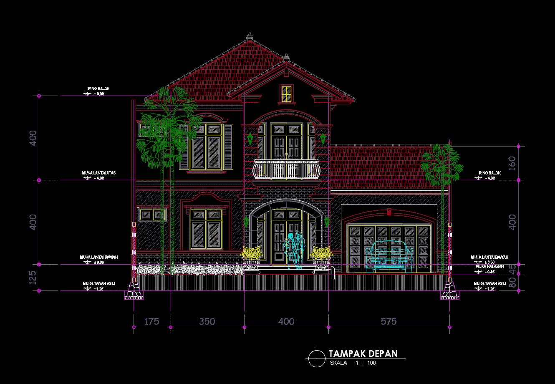Download Desain Rumah Klasik Mewah Type 280 DWG AutoCAD - Asdar Id