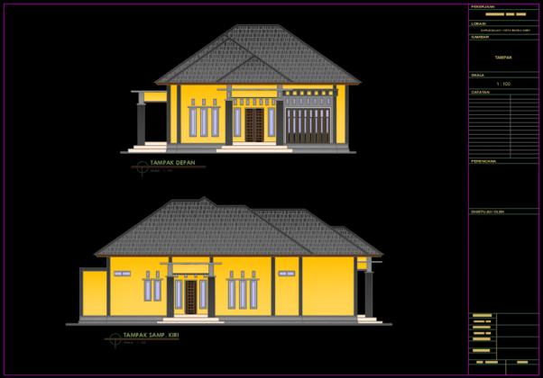 tampak 01 rumah 1 lantai type 230 m2