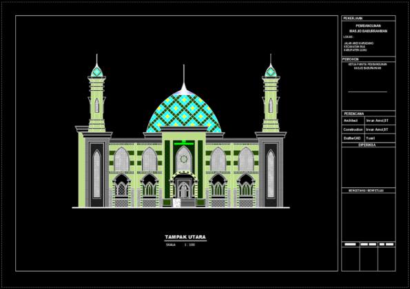 tampak belakang masjid baburrahman