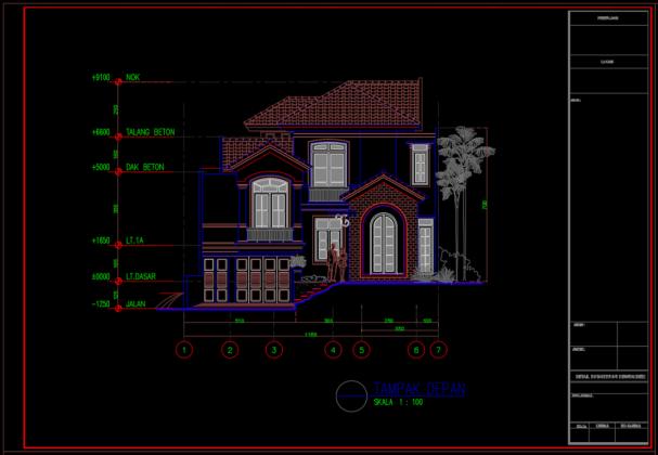 tampak depan rumah tinggal 2 lantai 11.60m x 25.65m