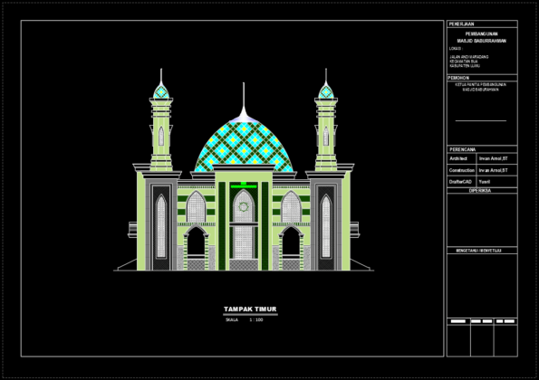 tampak samping kanan masjid baburrahman