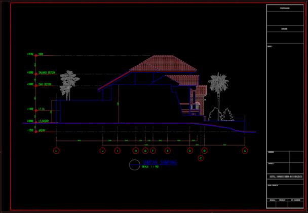 tampak samping rumah tinggal 2 lantai 11.60m x 25.65m