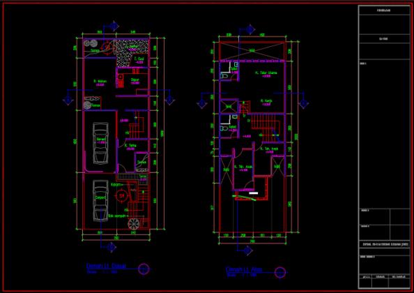 denah lt dasar dan lt atas rumah 3 lantai 7x20 meter