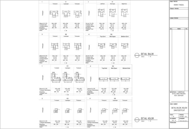 detail balok, kolom dan footplat