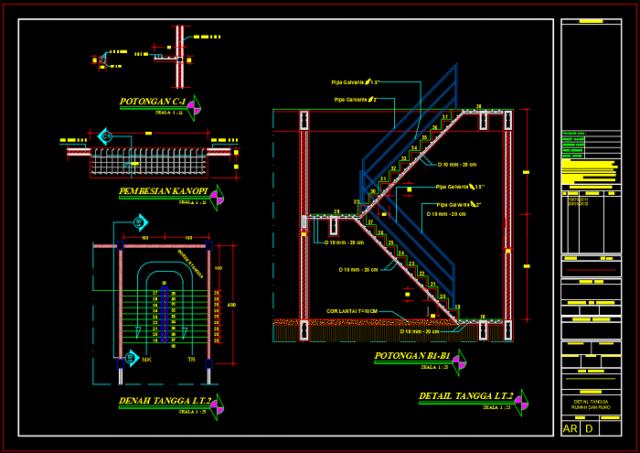 detail tangga lantai 2